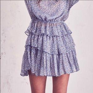 LoveShackFancy blue floral skirt